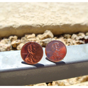 Penny Stud Earrings - Crafted From Real Pennies - Art and Soule