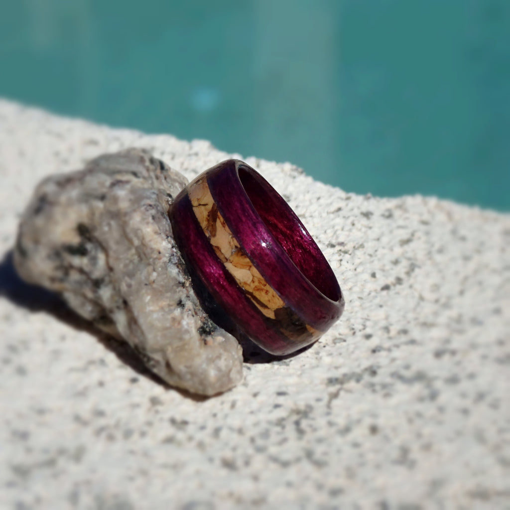Wine Dyed Birch Bentwood Wood Ring With Cork Inlay