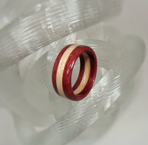 Purpleheart and Maple Layered Wood Ring - Art and Soule