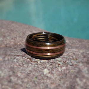 Jack Daniels Tennessee Whiskey Barrel Charred Bentwood Ring With With Dual Copper Band Inlay - Art and Soule