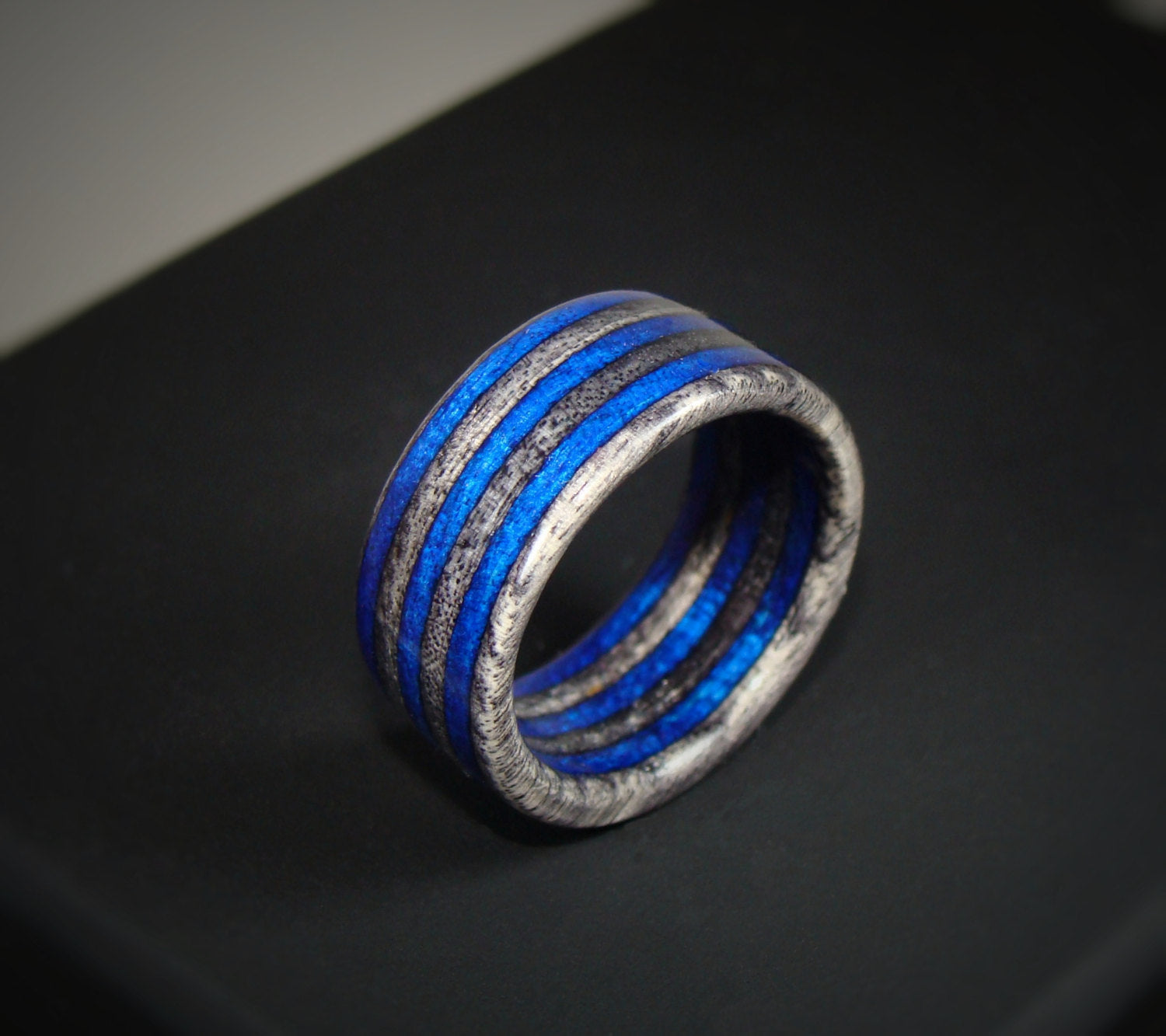 Spectraply Blue Charcoal Gray Wood Ring - Bentwood or Solid Wood - Art and Soule