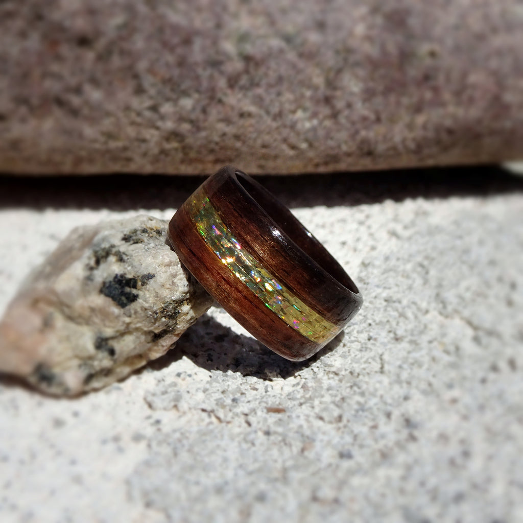 Macassar Ebony Bentwood Ring with Gold Holographic Tinsel Fly Fishing Line Inlay