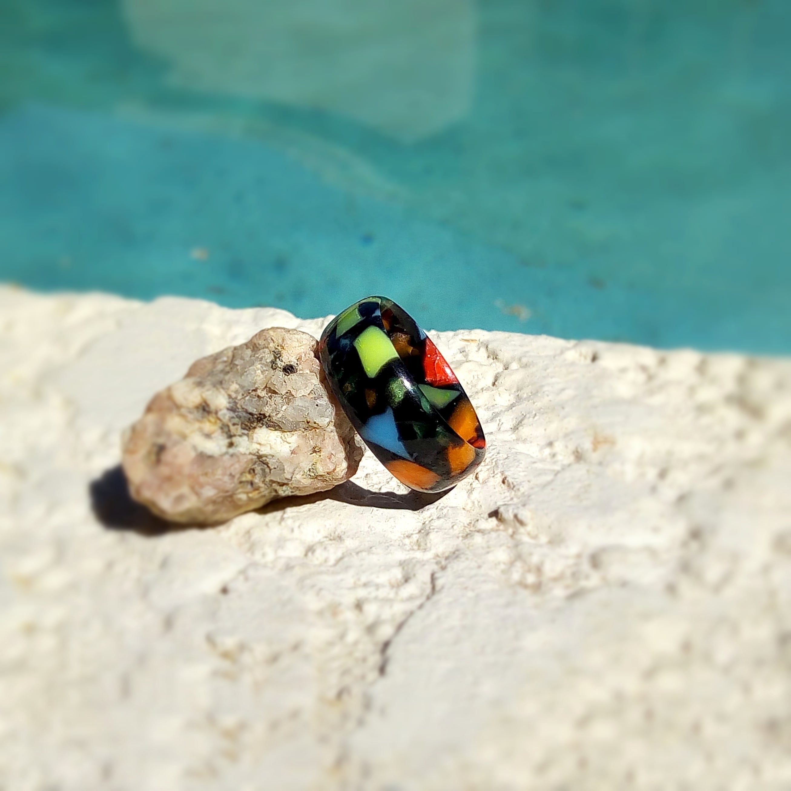 Neon Mosiac Multicolored Acrylic Resin Ring - Art and Soule