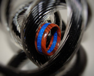 Bolivian Rosewood and Blue Pearl Resin Ring - Art and Soule