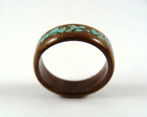 Walnut Bentwood Wood Ring With Turquoise Inlay - Art and Soule