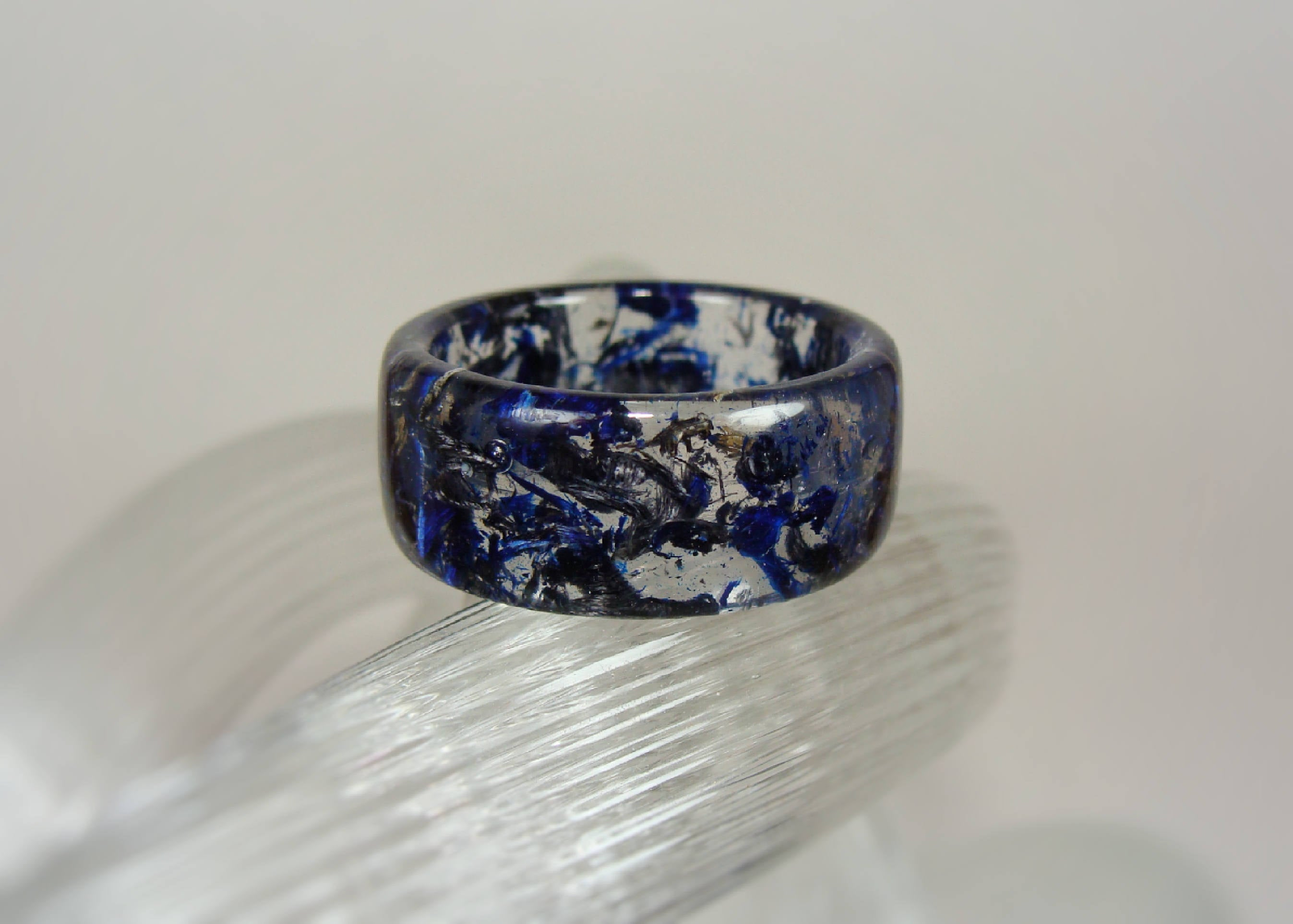 Blue and Gray Spectraply Wood and Resin Ring - Art and Soule