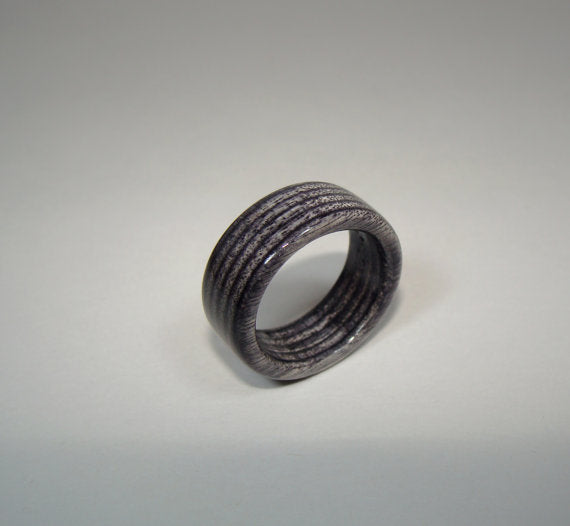 Spectraply Charcoal Gray Wood Ring - Bentwood or Solid Wood - Art and Soule
