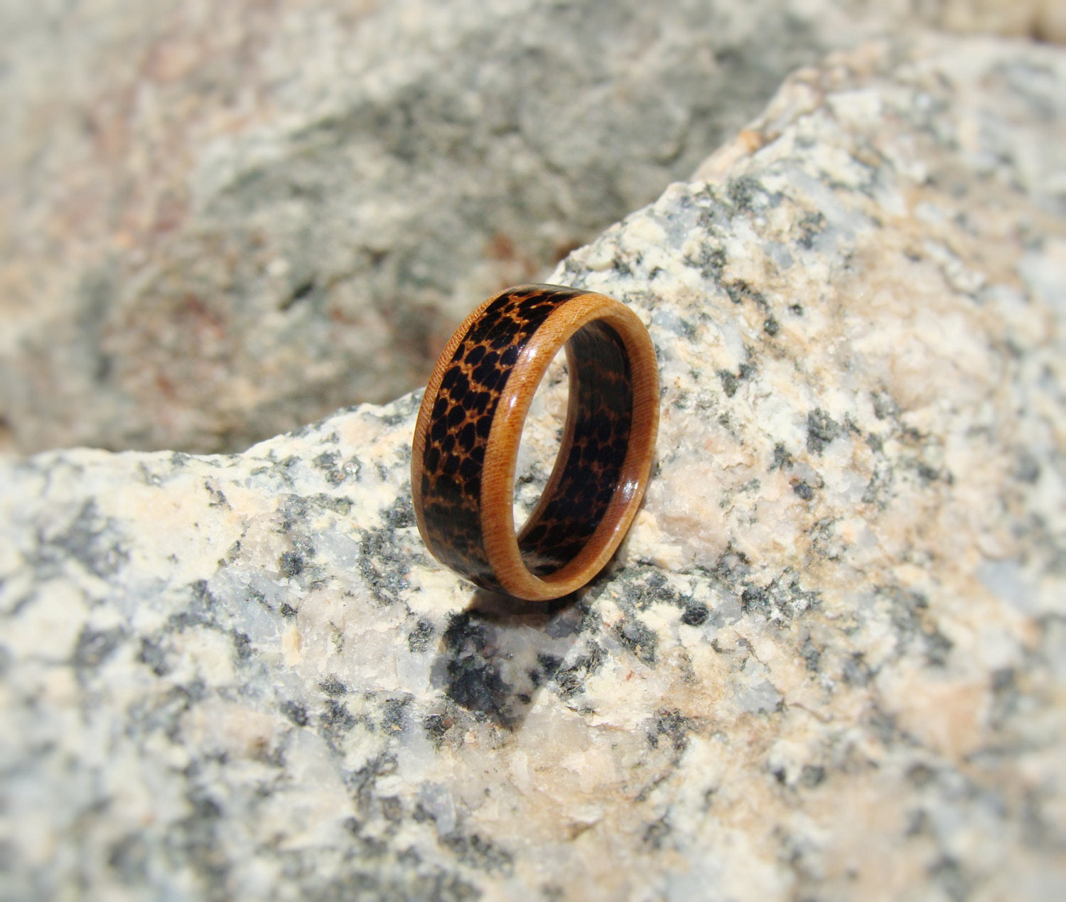Cherry and Black Palm Solid Wood Ring - Art and Soule