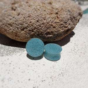 Faux Turquoise Stone Resin Double Flared Ear Plugs or Tunnels or Teardrops - Ear Gauges - Art and Soule