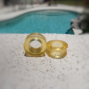 Translucent Amber Resin Double Flared Ear Tunnels - Art and Soule
