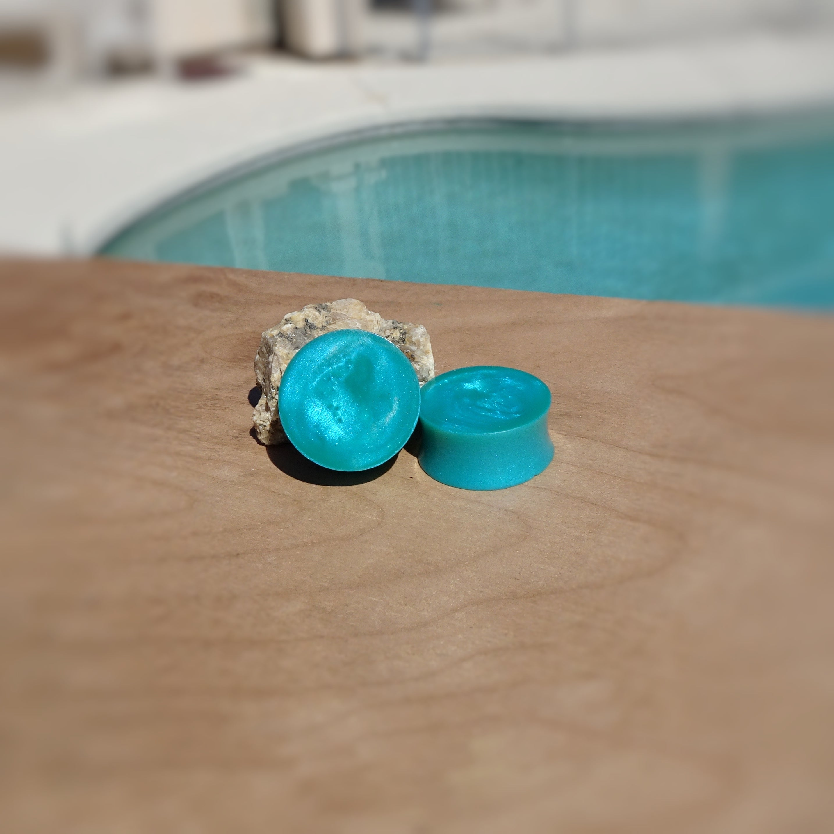 Sea Blue Pearl Resin Double Flared Ear Plugs or Tunnels or Teardrops - Ear Gauges - Turquoise Blue - Art and Soule