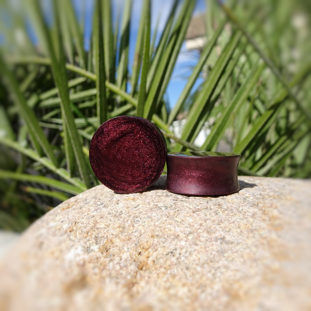 Black Cherry Pearl Resin Double Flared Ear Plugs or Tunnels or Teardrops - Ear Gauges - Art and Soule