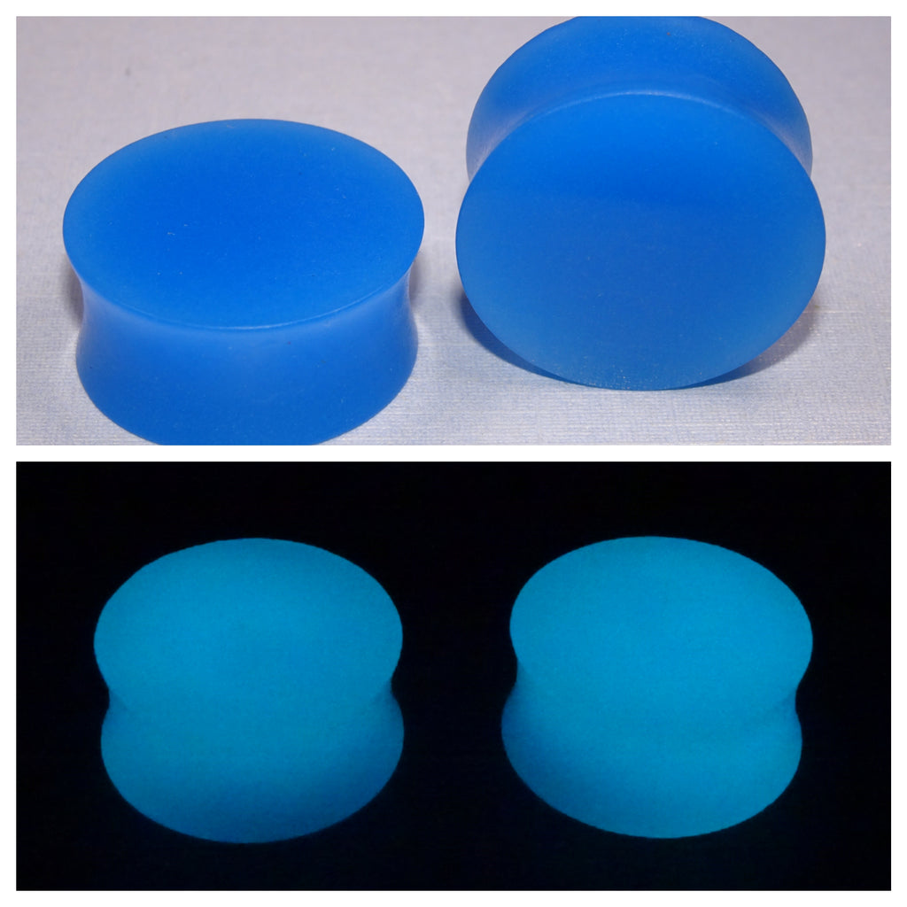 Fluorescent Blue Glow In The Dark Ear Plugs or Tunnels or Teardrops - Ear Gauges - Art and Soule
