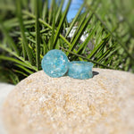 Sky Blue Glitter Resin Double Flared Ear Plugs or Tunnels or Teardrops - Ear Gauges - Art and Soule