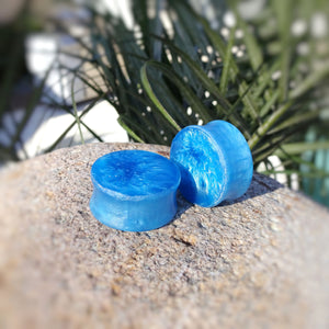 Blue Pearl Resin Double Flared Ear Plugs or Tunnels or Teardrops - Ear Gauges - Art and Soule