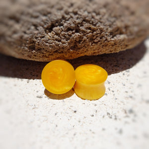 Bright Yellow Pearl Resin Double Flared Ear Plugs or Tunnels or Teardrops - Ear Gauges - Art and Soule
