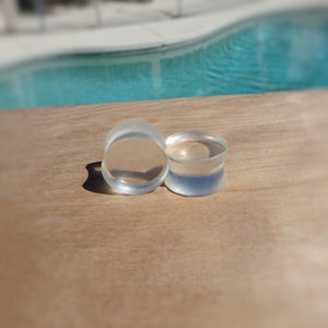 Clear Resin Double Flared Ear Plugs or Tunnels or Teardrops - Ear Gauges - Art and Soule