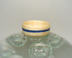 Curly Maple Bentwood Wood Ring with Blue Lapis Stone Inlay - Art and Soule