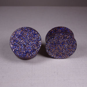 Blue and Copper Resin Double Flared Ear Plugs or Tunnels or Teardrops - Ear Gauges - Art and Soule