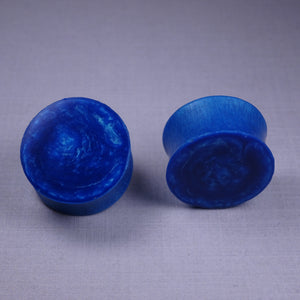 Blue and Green Duochrome Resin Double Flared Ear Plugs or Tunnels or Teardrops - Ear Gauges - Art and Soule