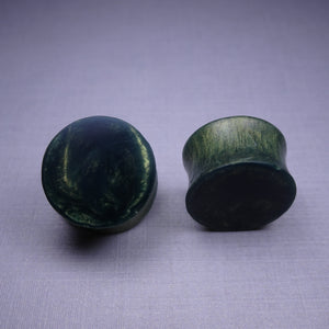 Olive Green Pearl Resin Double Flared Ear Plugs or Tunnels or Teardrops - Ear Gauges - Art and Soule