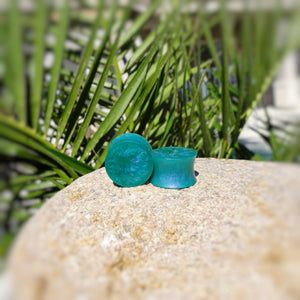Sea Green with Purple Color Shift Resin Double Flared Ear Plugs or Tunnels or Teardrops - Ear Gauges - Art and Soule