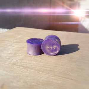 Violet Brass Pearl Resin Double Flared Ear Plugs or Tunnels or Teardrops - Ear Gauges - Art and Soule