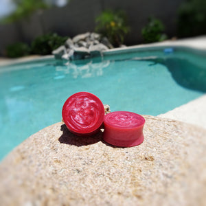 Hot Pink Pearl Resin Double Flared Ear Plugs or Tunnels or Teardrops - Ear Gauges - Art and Soule