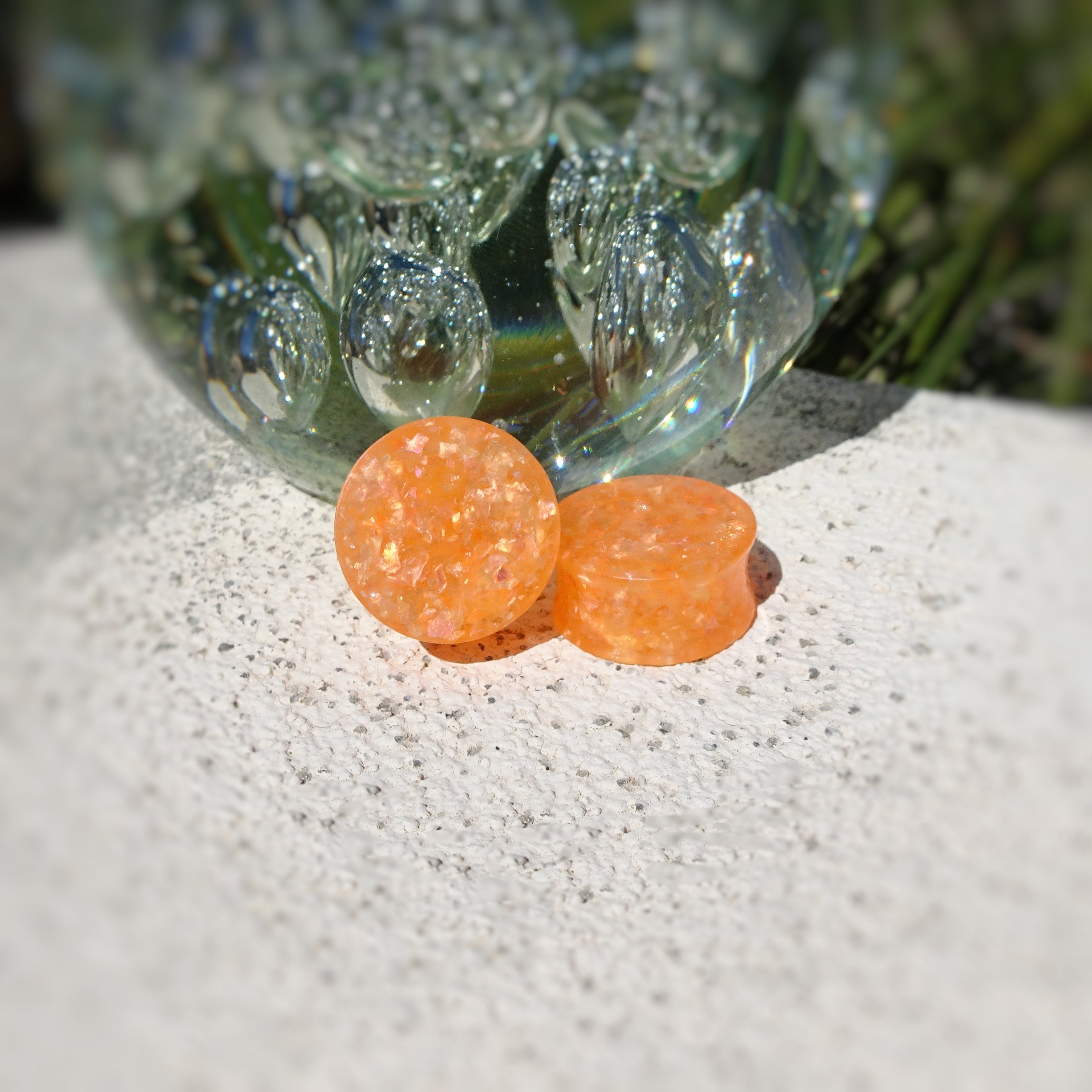 Orange Glitter Resin Double Flared Ear Plugs or Tunnels or Teardrops - Ear Gauges - Art and Soule