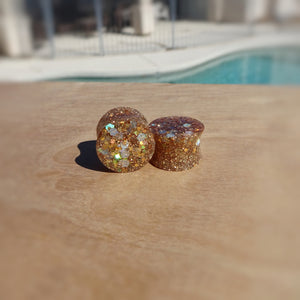 Gold Holographic Glitter Resin Double Flared Ear Plugs or Tunnels or Teardrops - Ear Gauges - Art and Soule