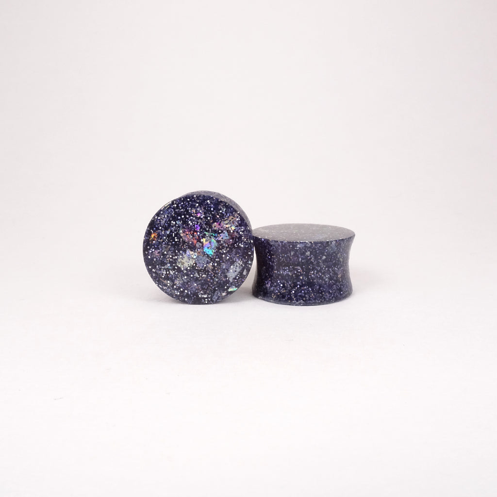 Outer Space Glitter Resin Double Flared Ear Plugs or Tunnels or Teardrops - Black Silver Red Blue - Ear Gauges - Art and Soule
