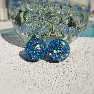 Blue Holographic Glitter Resin Double Flared Ear Plugs or Tunnels or Teardrops - Ear Gauges - Art and Soule