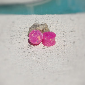 Hot Pink Holographic Glitter Resin Double Flared Ear Plugs or Tunnels or Teardrops - Ear Gauges - Art and Soule