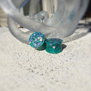 Green Purple Glitter Resin Double Flared Ear Plugs or Tunnels or Teardrops - Ear Gauges - Art and Soule