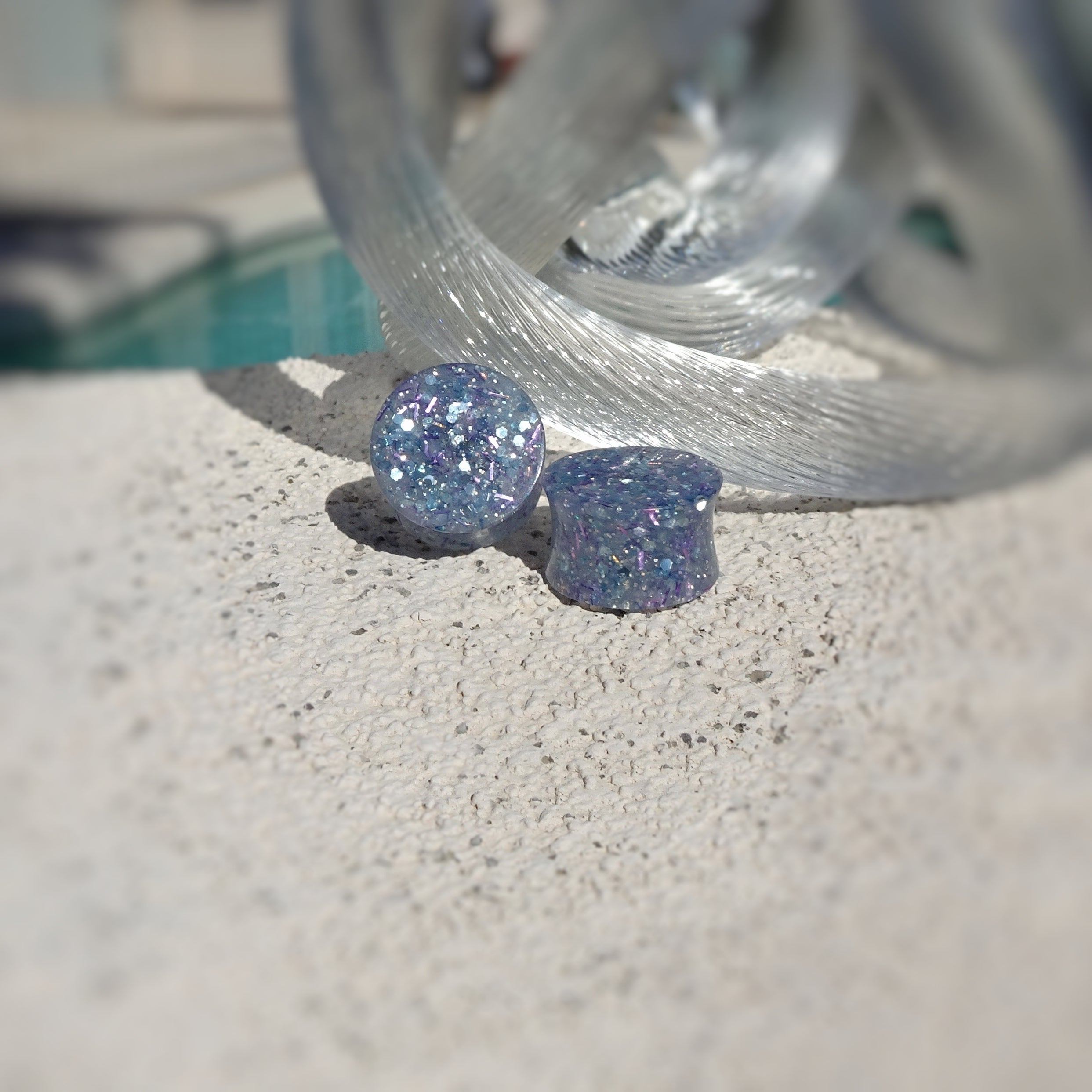 Blue Glitter Resin Double Flared Ear Plugs or Tunnels or Teardrops - Ear Gauges - Art and Soule