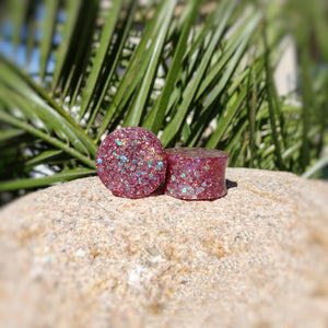 Dark Pink Silver Holographic Glitter Resin Double Flared Ear Plugs or Tunnels or Teardrops - Ear Gauges - Art and Soule
