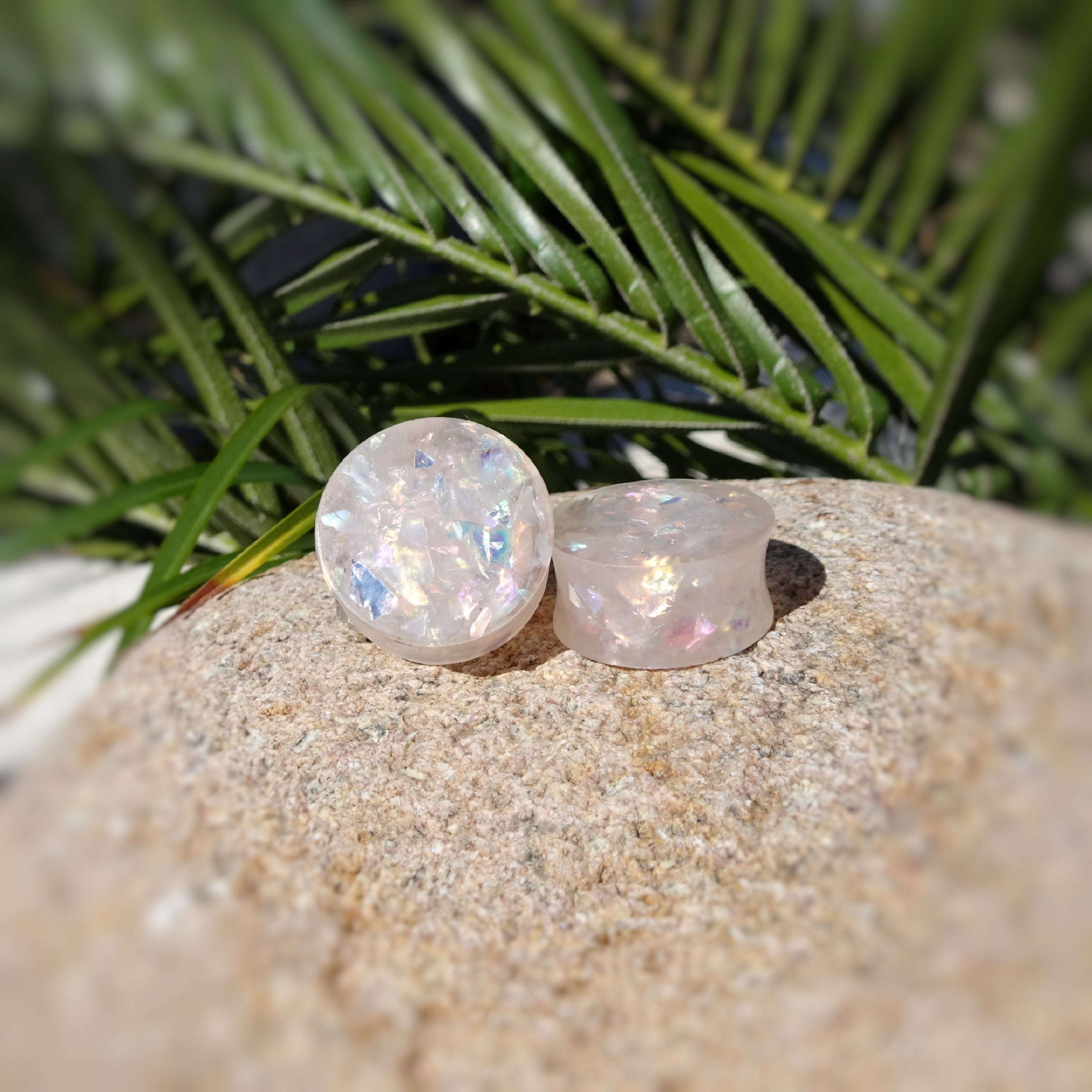 Light Pink Holographic Glitter Resin Double Flared Ear Plugs or Tunnels or Teardrops - Ear Gauges - Art and Soule