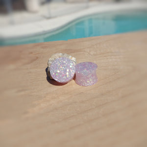 Light Pink Gold Holographic Glitter Resin Double Flared Ear Plugs or Tunnels or Teardrops - Ear Gauges - Art and Soule