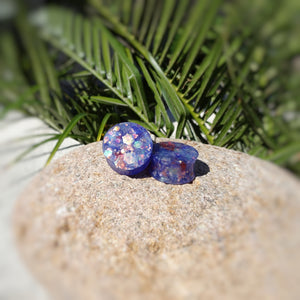 Purple Red Green Holographic Glitter Resin Double Flared Ear Plugs or Tunnels or Teardrops - Ear Gauges - Art and Soule