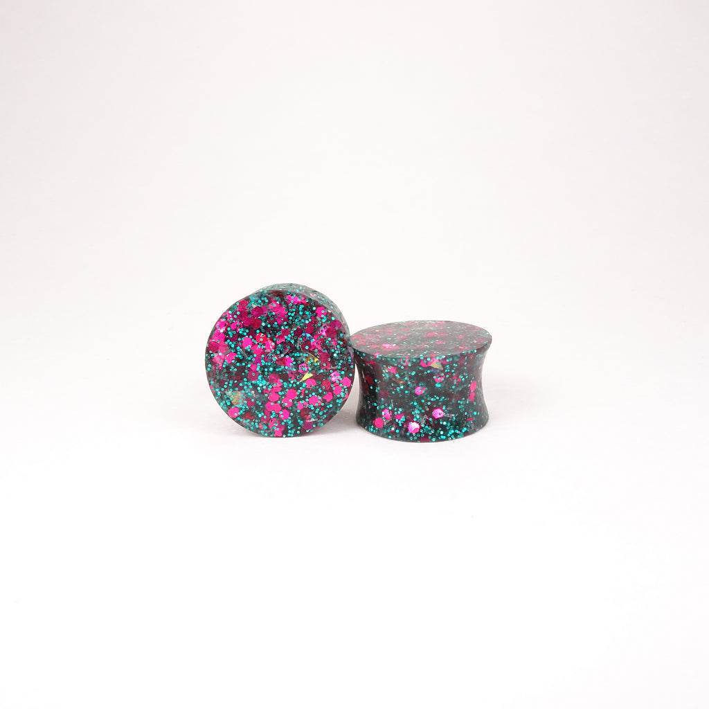 Blue Green Fuchsia Pink Glitter Resin Double Flared Ear Plugs or Tunnels or Teardrops - Ear Gauges