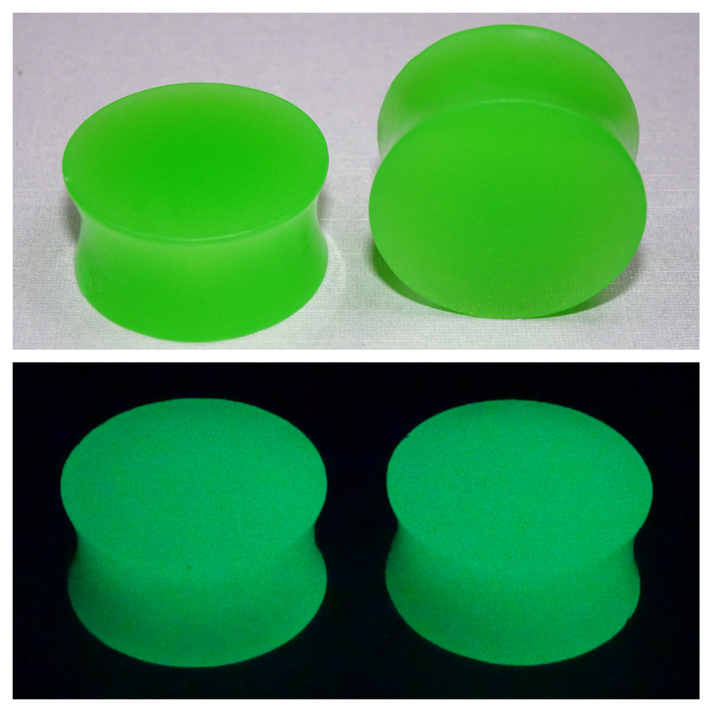 Fluorescent Green Glow In The Dark Ear Plugs or Tunnels or Teardrops - Ear Gauges - Art and Soule