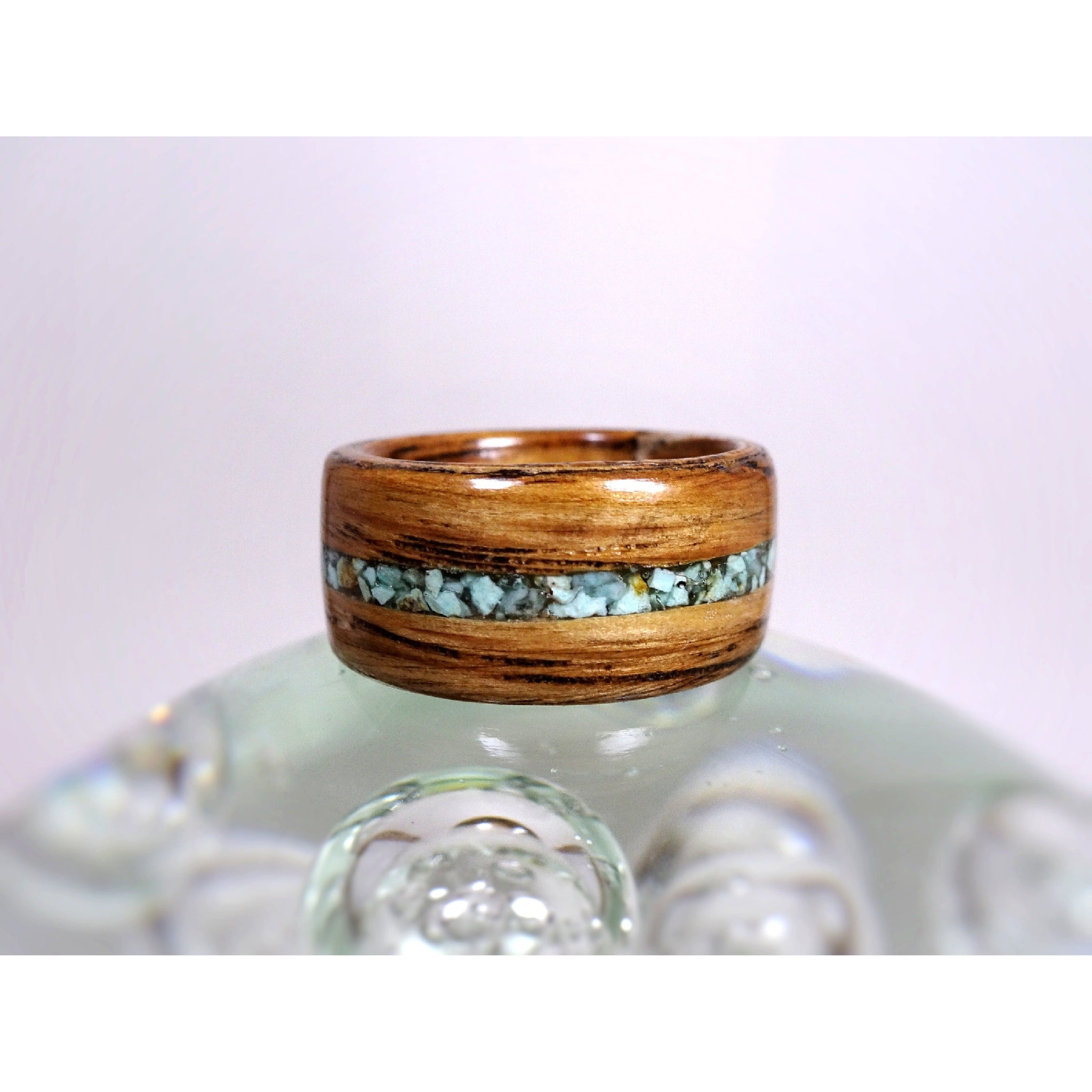 Tennessee Whiskey Barrel Bentwood Ring with Turquoise Inlay - Jack Daniels Barrel Wood Ring - Art and Soule