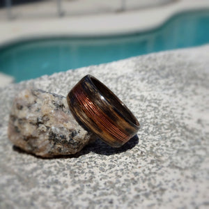 Jack Daniels Tennessee Whiskey Barrel Charred Bentwood Ring With Copper Fly Fishing Line Inlay - Art and Soule