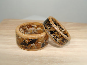 Jack Daniels Whiskey Barrel Wood & Ebony Wood Resin Ring Set Layered with Jack Daniels Tennessee Whiskey Barrel Wood - Art and Soule