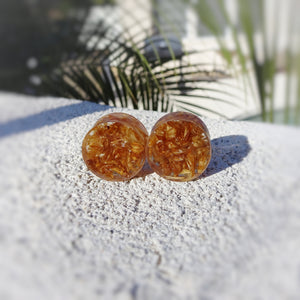 Jack Daniels Whiskey Barrel Wood and Resin Double Flared Ear Plugs or Tunnels or Teardrops - Ear Gauges - Art and Soule