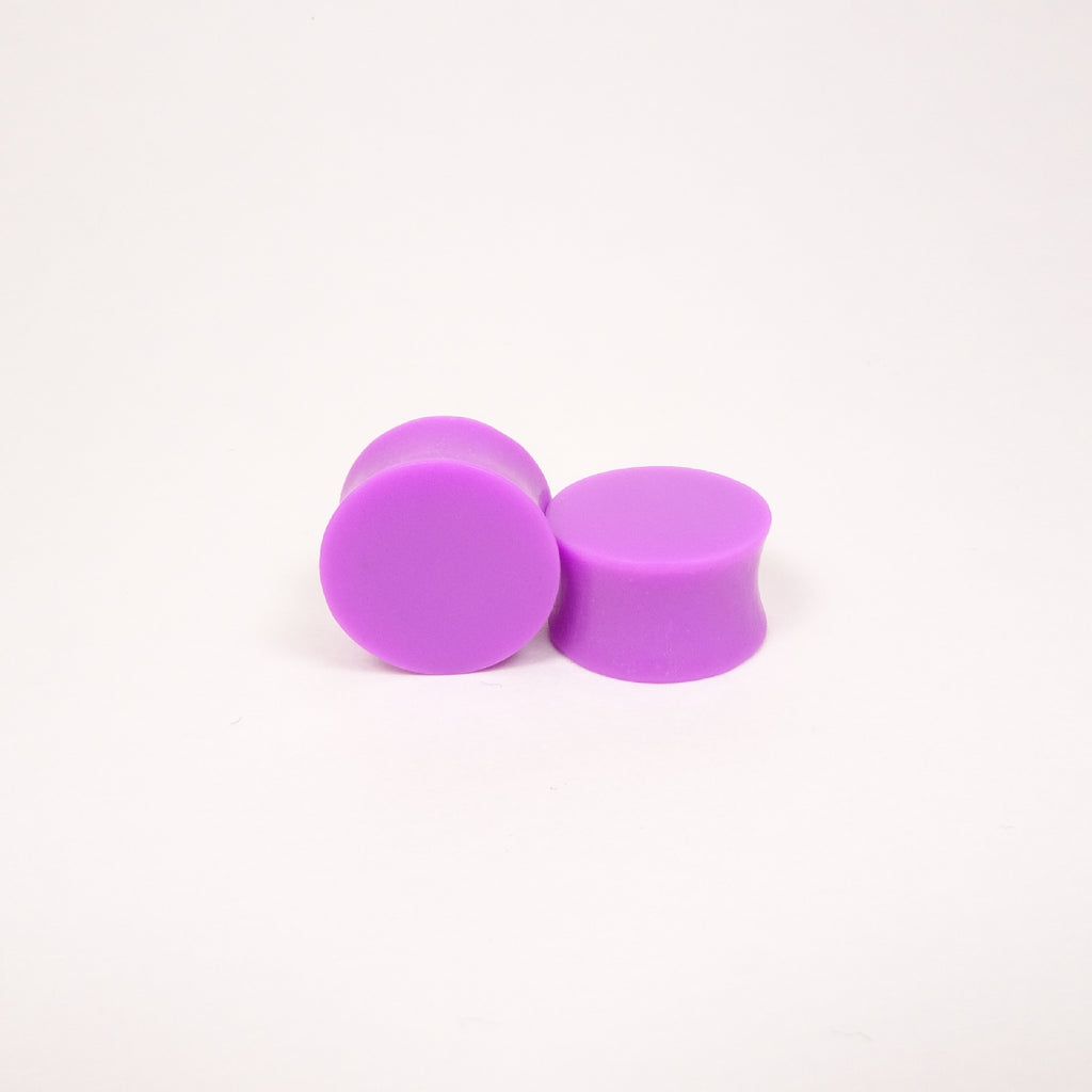 Neon Purple Resin Double Flared Ear Plugs or Tunnels or Teardrops - Ear Gauges- Fluorescent Purple - Art and Soule