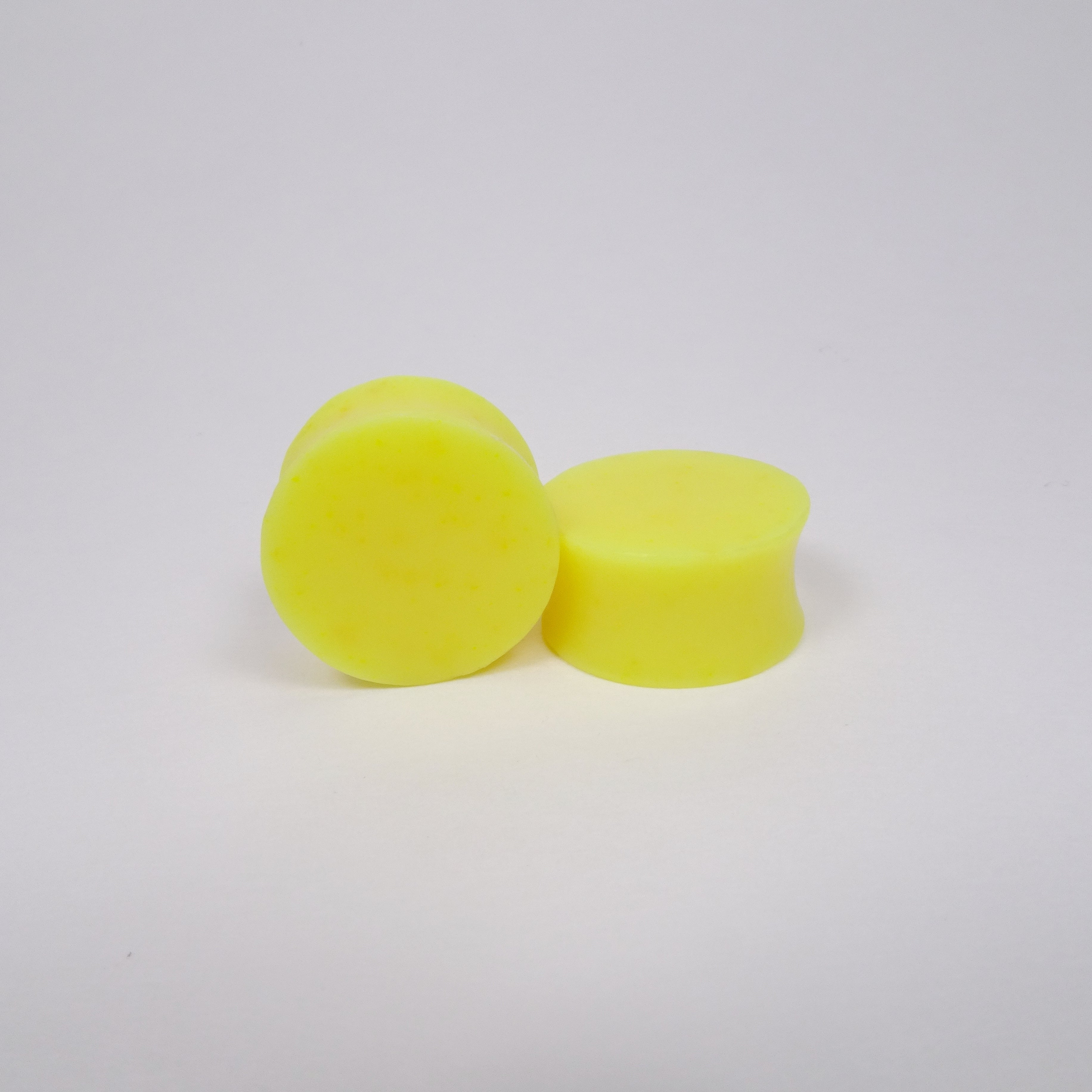 Neon Yellow Resin Double Flared Ear Plugs or Tunnels or Teardrops - Ear Gauges- Fluorescent Yellow - Art and Soule