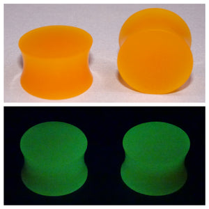 Fluorescent Orange Glow In The Dark Ear Plugs or Tunnels or Teardrops - Ear Gauges - Art and Soule