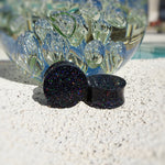Black Holographic Resin Double Flared Ear Plugs or Tunnels or Teardrops - Ear Gauges - Art and Soule