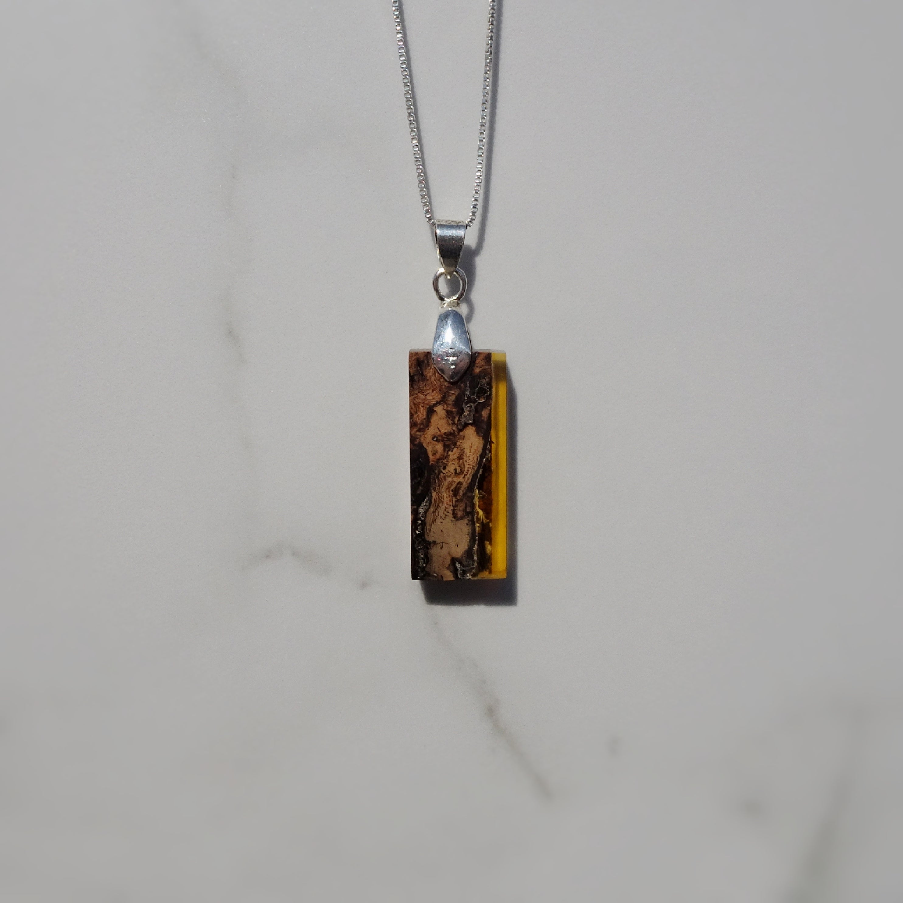 Oak and Translucent Amber Acrylic Resin Pendant - One of a Kind - Art and Soule